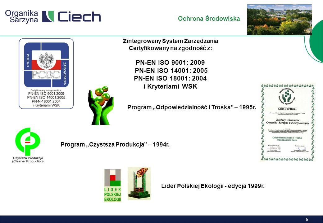5 Program Odpowiedzialność i Troska – 1995r.Program Czystsza Produkcja – 1994r.