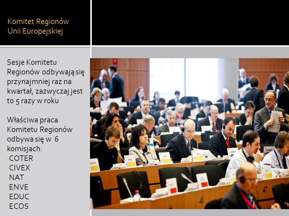 Komitet Regionów Unii Europejskiej Sesje Komitetu Regionów odbywają się przynajmniej raz na kwartał, zazwyczaj jest to 5 razy w roku Właściwa praca Ko