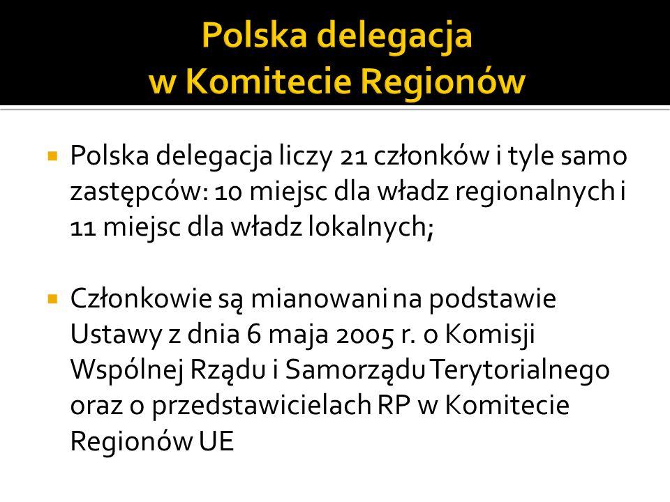 Polska delegacja liczy 21 członków i tyle samo zastępców: 10 miejsc dla władz regionalnych i 11 miejsc dla władz lokalnych; Członkowie są mianowani na