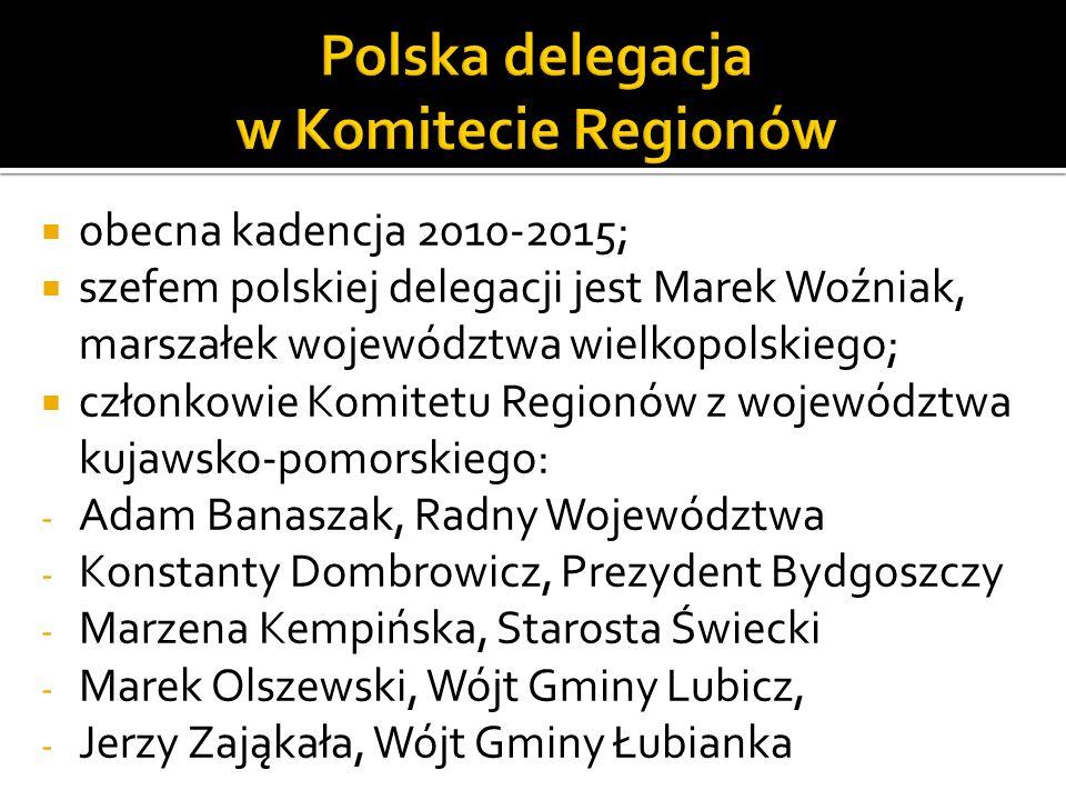 obecna kadencja 2010-2015; szefem polskiej delegacji jest Marek Woźniak, marszałek województwa wielkopolskiego; członkowie Komitetu Regionów z wojewód