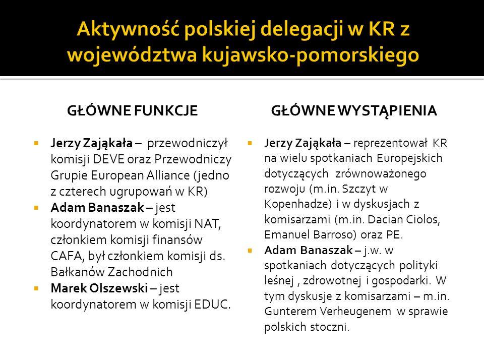 GŁÓWNE FUNKCJE Jerzy Zająkała – przewodniczył komisji DEVE oraz Przewodniczy Grupie European Alliance (jedno z czterech ugrupowań w KR) Adam Banaszak