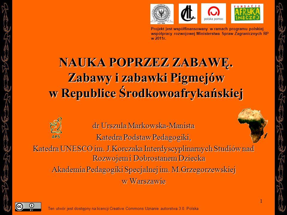 22 Kontakt: umarkowska@aps.edu.pl ZDJĘCIA WYKORZYSTANE W NINIEJSZEJ PREZENTACJI POCHODZĄ Z ARCHIWUM FOTOGRAFICZNEGO STOWARZYSZENIA MISJI AFRYKAŃSKICH SMA W BORZĘCINIE DUŻYM: www.sma.pl ORAZ ZE ZBIORÓW AUTORKI Autorka prezentacji korzystała również z map: Afryki i Republiki Środkowoafrykańskiej zamieszczonych na stronach internetowych: http://wwp.greenwichmeantime.com/images/time/africa/central- african-republic.jpg http://wwp.greenwichmeantime.com/images/time/africa/central- african-republic.jpg