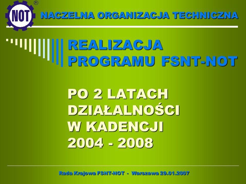 NACZELNA ORGANIZACJA TECHNICZNA REALIZACJA PROGRAMU FSNT-NOT PO 2 LATACH DZIAŁALNOŚCI W KADENCJI 2004 - 2008 Rada Krajowa FSNT-NOT - Warszawa 29.01.20