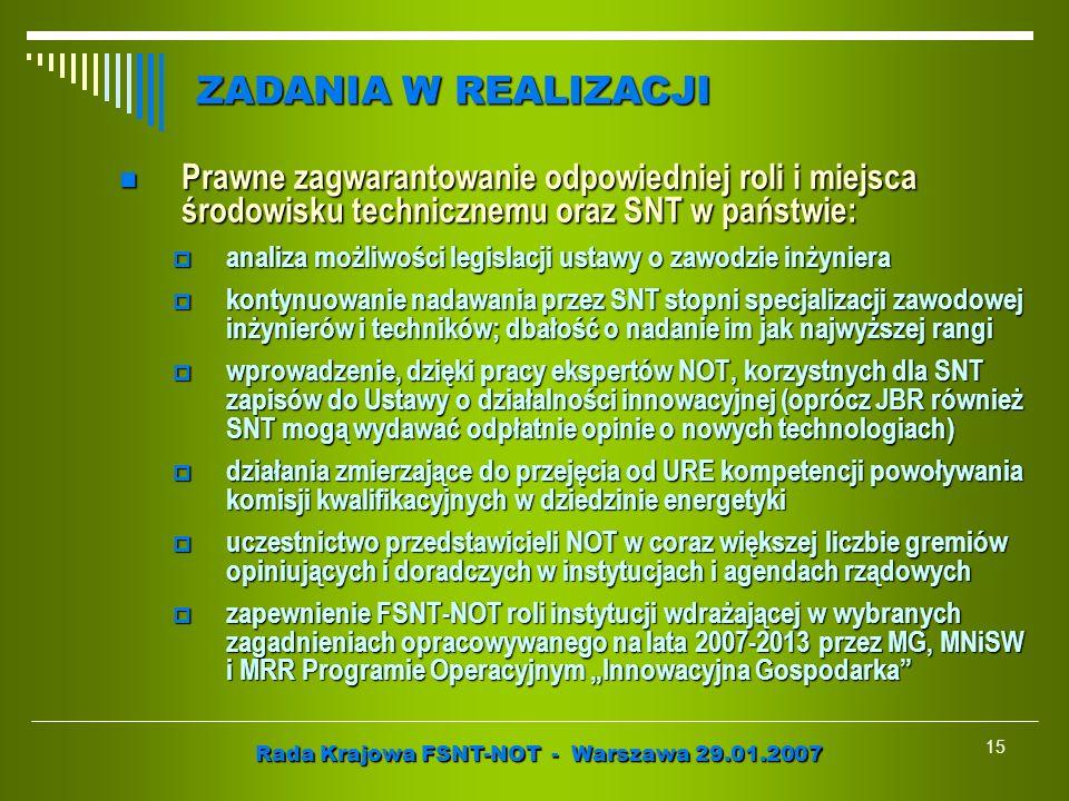 Rada Krajowa FSNT-NOT - Warszawa 29.01.2007 15 Prawne zagwarantowanie odpowiedniej roli i miejsca środowisku technicznemu oraz SNT w państwie: Prawne