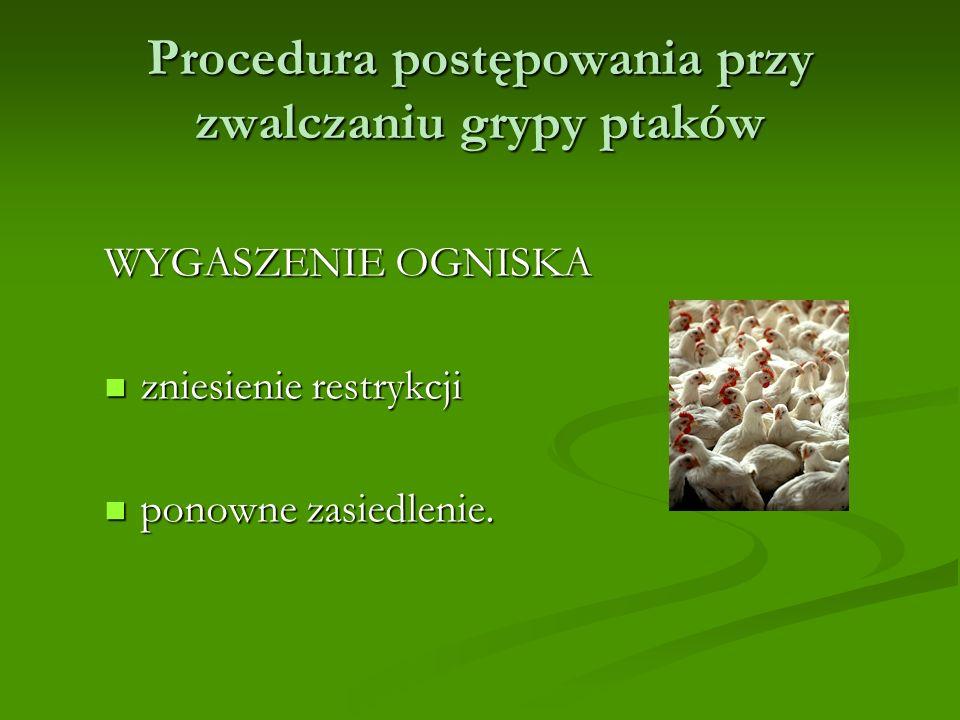 Procedura postępowania przy zwalczaniu grypy ptaków WYGASZENIE OGNISKA zniesienie restrykcji zniesienie restrykcji ponowne zasiedlenie.