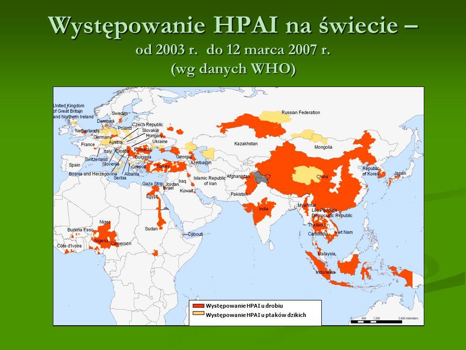 Występowanie HPAI na świecie – od 2003 r.do 12 marca 2007 r.