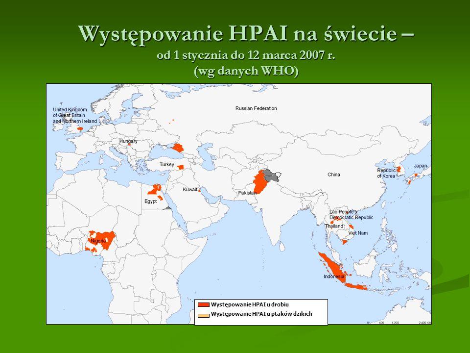 Występowanie HPAI na świecie – od 1 stycznia do 12 marca 2007 r.