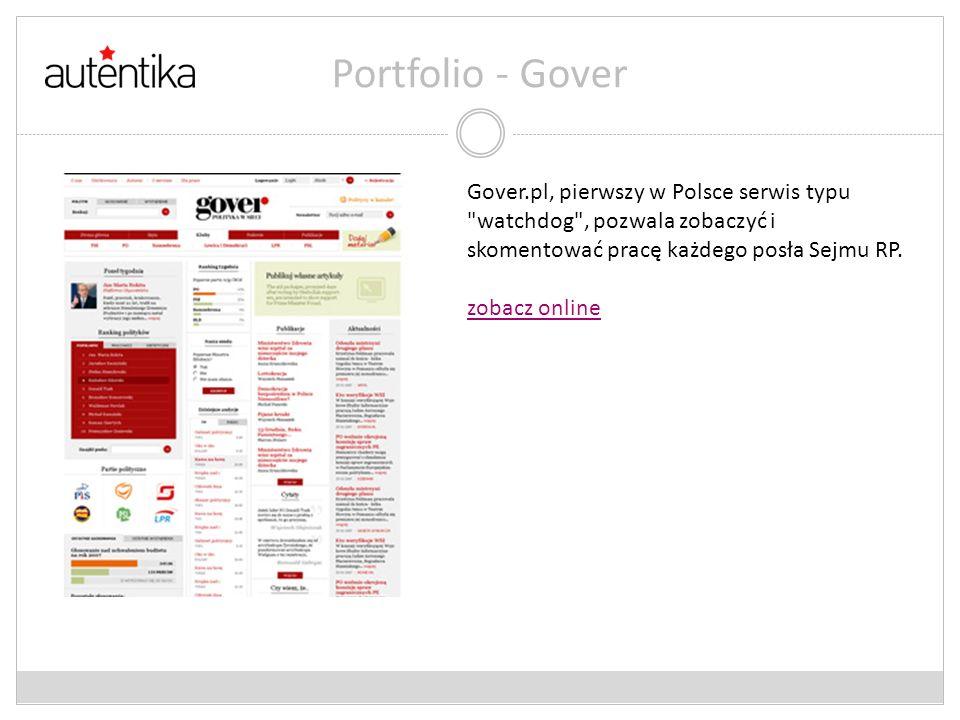 Portfolio - Gover Gover.pl, pierwszy w Polsce serwis typu
