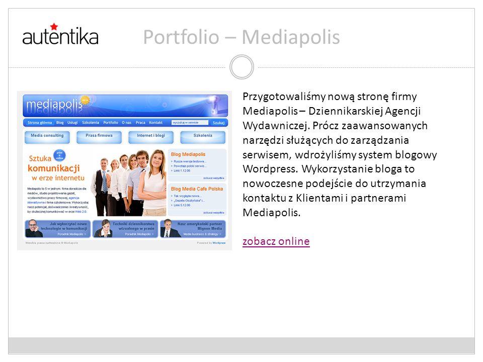 Portfolio – Mediapolis Przygotowaliśmy nową stronę firmy Mediapolis – Dziennikarskiej Agencji Wydawniczej. Prócz zaawansowanych narzędzi służących do