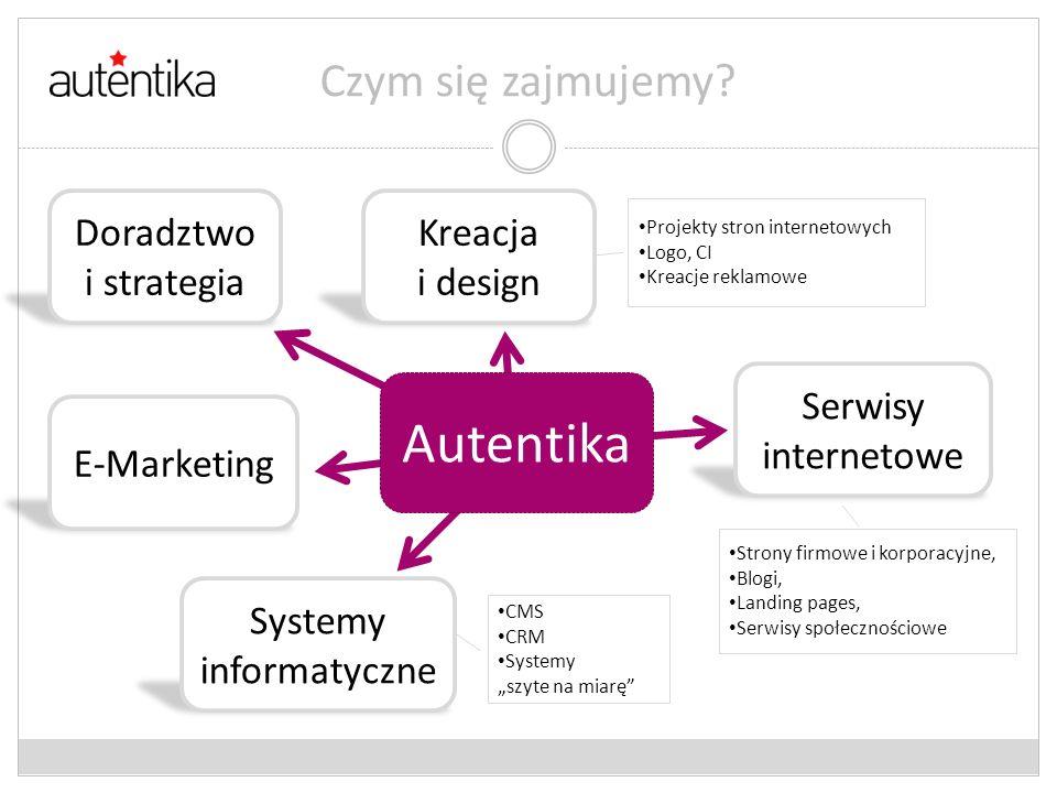 Projekty stron internetowych Logo, CI Kreacje reklamowe Czym się zajmujemy? Autentika Doradztwo i strategia Kreacja i design E-Marketing Systemy infor