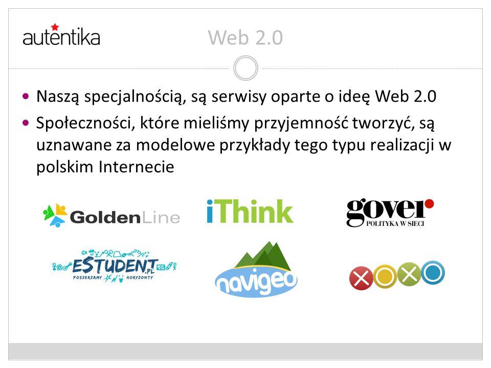 Web 2.0 Naszą specjalnością, są serwisy oparte o ideę Web 2.0 Społeczności, które mieliśmy przyjemność tworzyć, są uznawane za modelowe przykłady tego