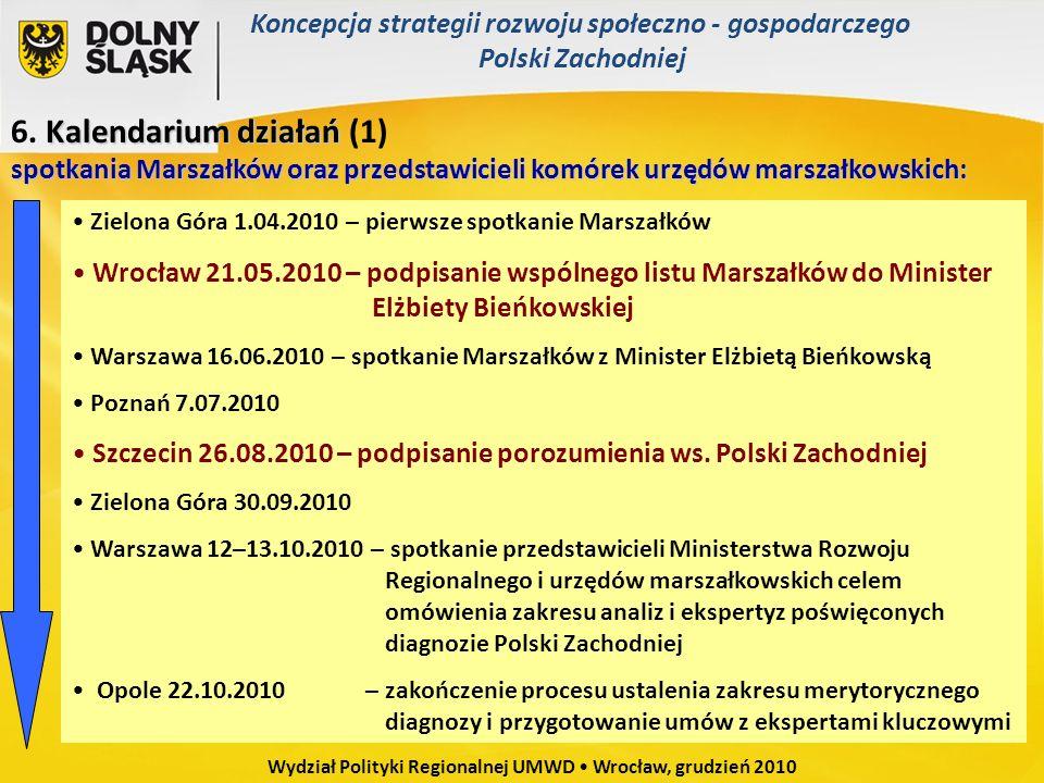 Zielona Góra 1.04.2010 – pierwsze spotkanie Marszałków Wrocław 21.05.2010 – podpisanie wspólnego listu Marszałków do Minister Elżbiety Bieńkowskiej Wa