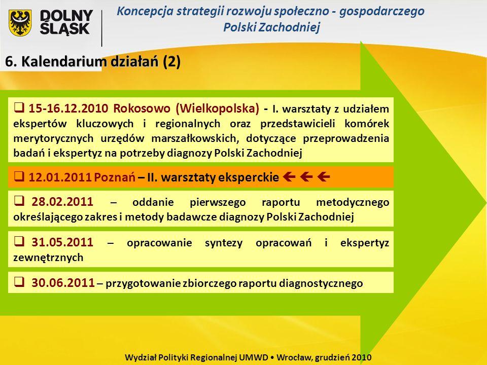Kalendarium działań 6. Kalendarium działań (2) 15-16.12.2010 Rokosowo (Wielkopolska) - I. warsztaty z udziałem ekspertów kluczowych i regionalnych ora