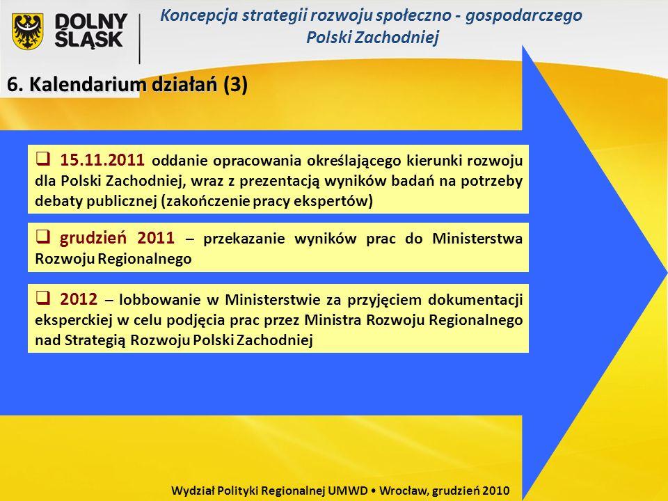 Kalendarium działań 6. Kalendarium działań (3) 15.11.2011 oddanie opracowania określającego kierunki rozwoju dla Polski Zachodniej, wraz z prezentacją
