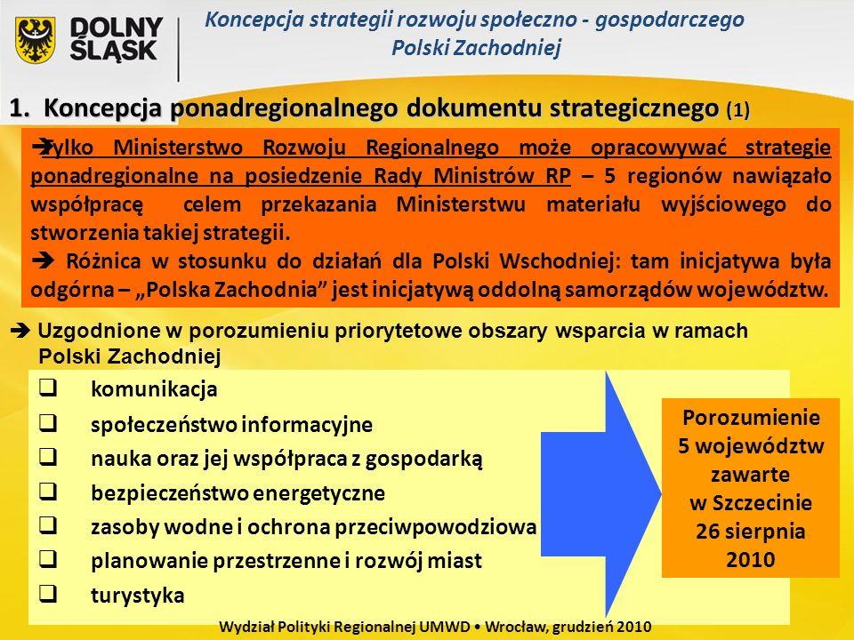 1. Koncepcja ponadregionalnego dokumentu strategicznego (1) Tylko Ministerstwo Rozwoju Regionalnego może opracowywać strategie ponadregionalne na posi
