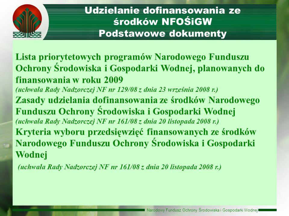 Narodowy Fundusz Ochrony Środowiska i Gospodarki Wodnej Udzielanie dofinansowania ze środków NFOŚiGW Podstawowe dokumenty Lista priorytetowych program