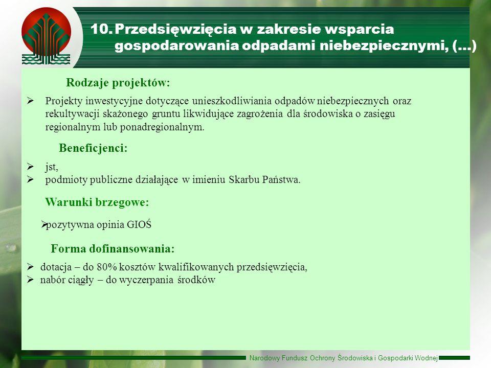 Narodowy Fundusz Ochrony Środowiska i Gospodarki Wodnej 10.Przedsięwzięcia w zakresie wsparcia gospodarowania odpadami niebezpiecznymi, (…) Forma dofi