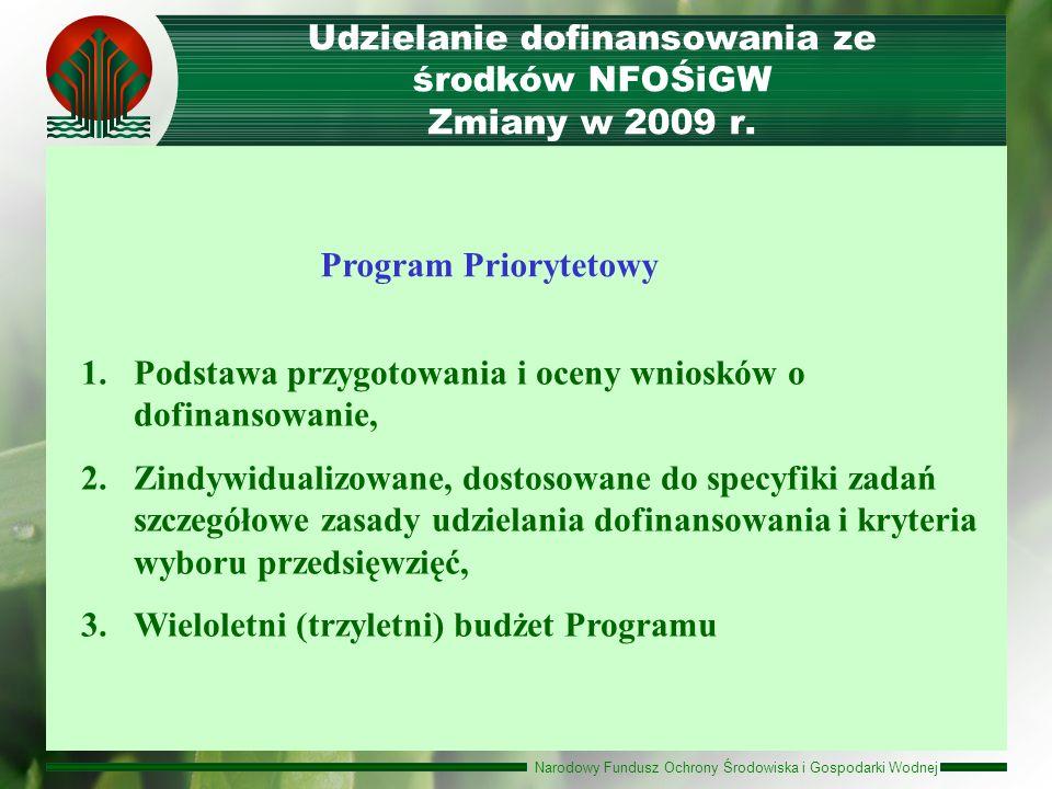 Narodowy Fundusz Ochrony Środowiska i Gospodarki Wodnej Udzielanie dofinansowania ze środków NFOŚiGW Zmiany w 2009 r. 1.Podstawa przygotowania i oceny