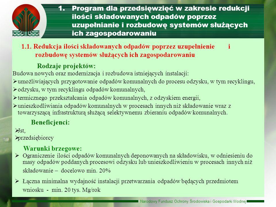 Narodowy Fundusz Ochrony Środowiska i Gospodarki Wodnej 1.Program dla przedsięwzięć w zakresie redukcji ilości składowanych odpadów poprzez uzupełnian