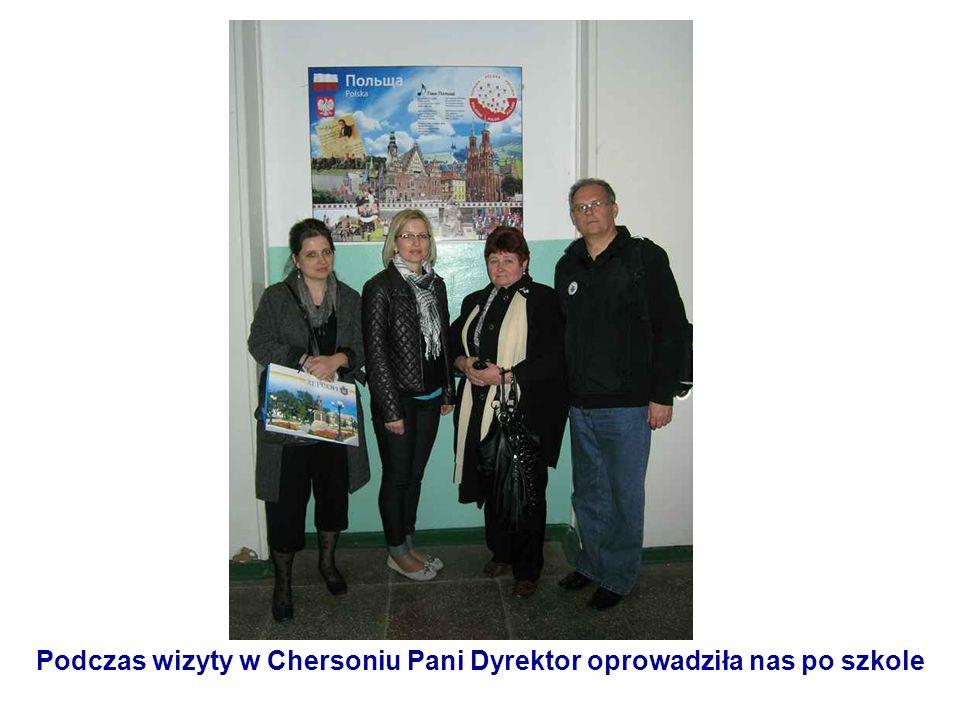 Podczas wizyty w Chersoniu Pani Dyrektor oprowadziła nas po szkole