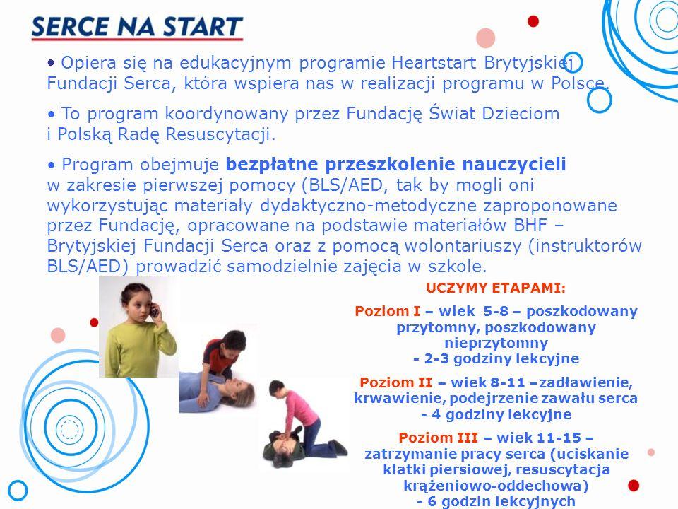 Jak realizujemy Program? Tu dzieci uczą się zasad udzielania pierwszej pomocy. Szkoła, przedszkole wybiera nauczyciela odpowiedzialnego za program i z