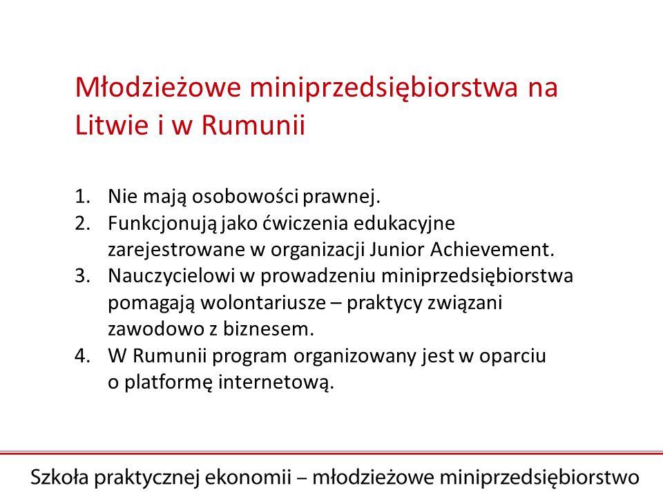 Młodzieżowe miniprzedsiębiorstwa na Litwie i w Rumunii 1.Nie mają osobowości prawnej.