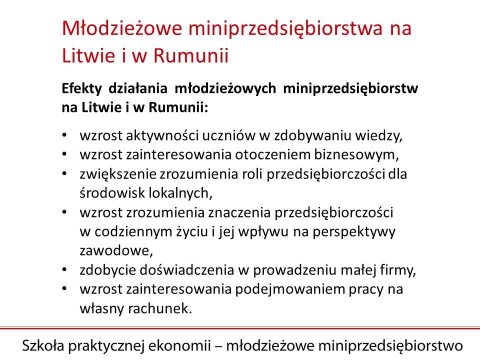 Efekty działania młodzieżowych miniprzedsiębiorstw na Litwie i w Rumunii: wzrost aktywności uczniów w zdobywaniu wiedzy, wzrost zainteresowania otoczeniem biznesowym, zwiększenie zrozumienia roli przedsiębiorczości dla środowisk lokalnych, wzrost zrozumienia znaczenia przedsiębiorczości w codziennym życiu i jej wpływu na perspektywy zawodowe, zdobycie doświadczenia w prowadzeniu małej firmy, wzrost zainteresowania podejmowaniem pracy na własny rachunek.