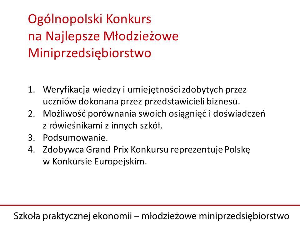 Ogólnopolski Konkurs na Najlepsze Młodzieżowe Miniprzedsiębiorstwo 1.Weryfikacja wiedzy i umiejętności zdobytych przez uczniów dokonana przez przedstawicieli biznesu.