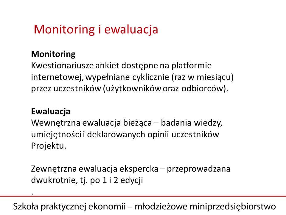 Monitoring i ewaluacja Monitoring Kwestionariusze ankiet dostępne na platformie internetowej, wypełniane cyklicznie (raz w miesiącu) przez uczestników (użytkowników oraz odbiorców).