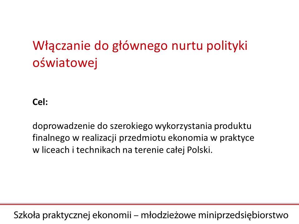 Cel: doprowadzenie do szerokiego wykorzystania produktu finalnego w realizacji przedmiotu ekonomia w praktyce w liceach i technikach na terenie całej Polski.