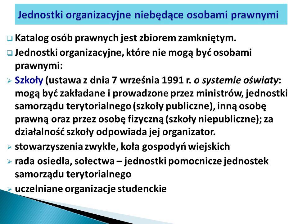 Katalog osób prawnych jest zbiorem zamkniętym. Jednostki organizacyjne, które nie mogą być osobami prawnymi: Szkoły (ustawa z dnia 7 września 1991 r.