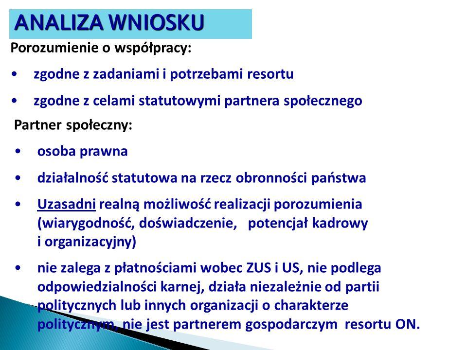 Porozumienie o współpracy: zgodne z zadaniami i potrzebami resortu zgodne z celami statutowymi partnera społecznego Partner społeczny: osoba prawna dz