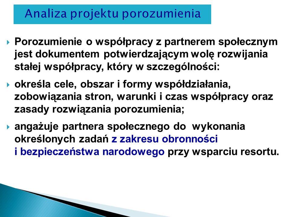 Porozumienie o współpracy z partnerem społecznym jest dokumentem potwierdzającym wolę rozwijania stałej współpracy, który w szczególności: określa cel