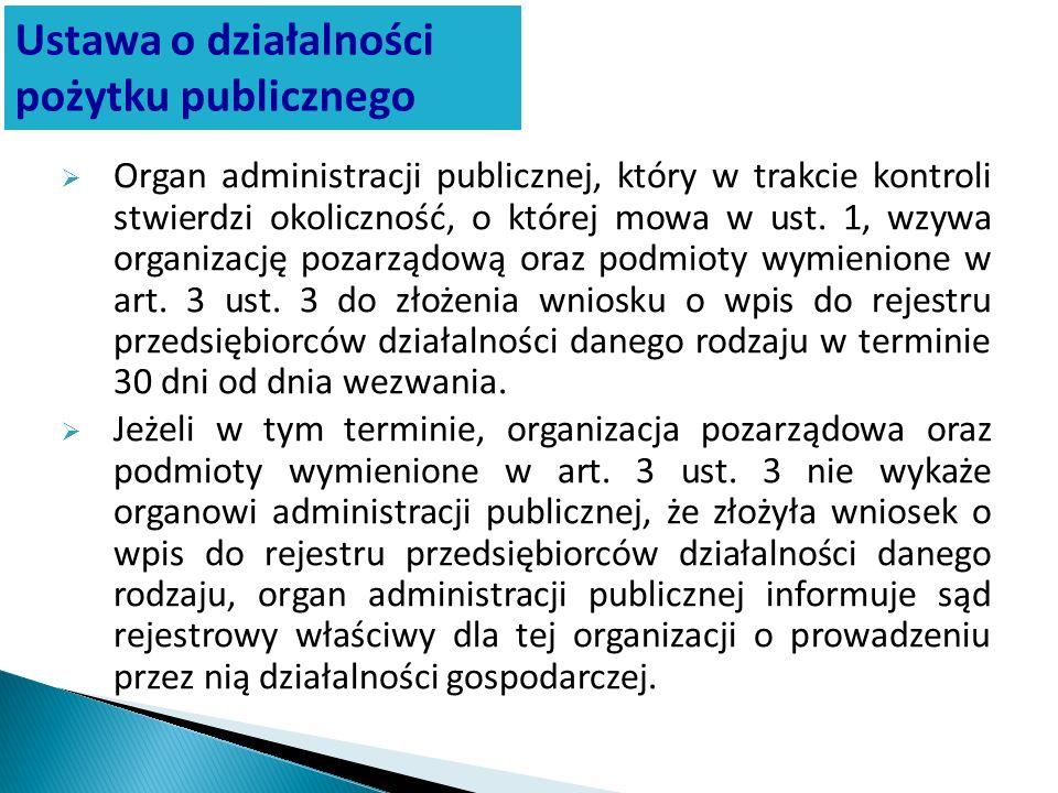 Organ administracji publicznej, który w trakcie kontroli stwierdzi okoliczność, o której mowa w ust. 1, wzywa organizację pozarządową oraz podmioty wy