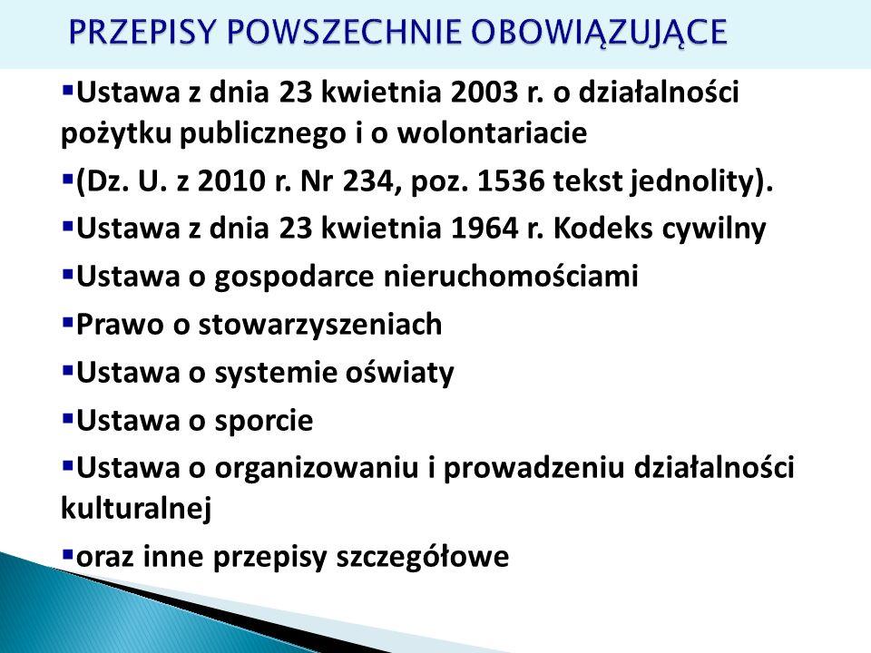 Ustawa z dnia 23 kwietnia 2003 r. o działalności pożytku publicznego i o wolontariacie (Dz. U. z 2010 r. Nr 234, poz. 1536 tekst jednolity). Ustawa z