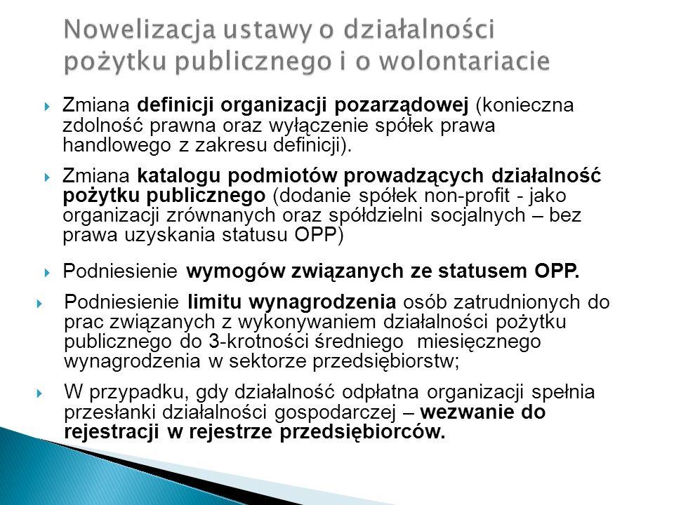 Zmiana definicji organizacji pozarządowej (konieczna zdolność prawna oraz wyłączenie spółek prawa handlowego z zakresu definicji). Zmiana katalogu pod