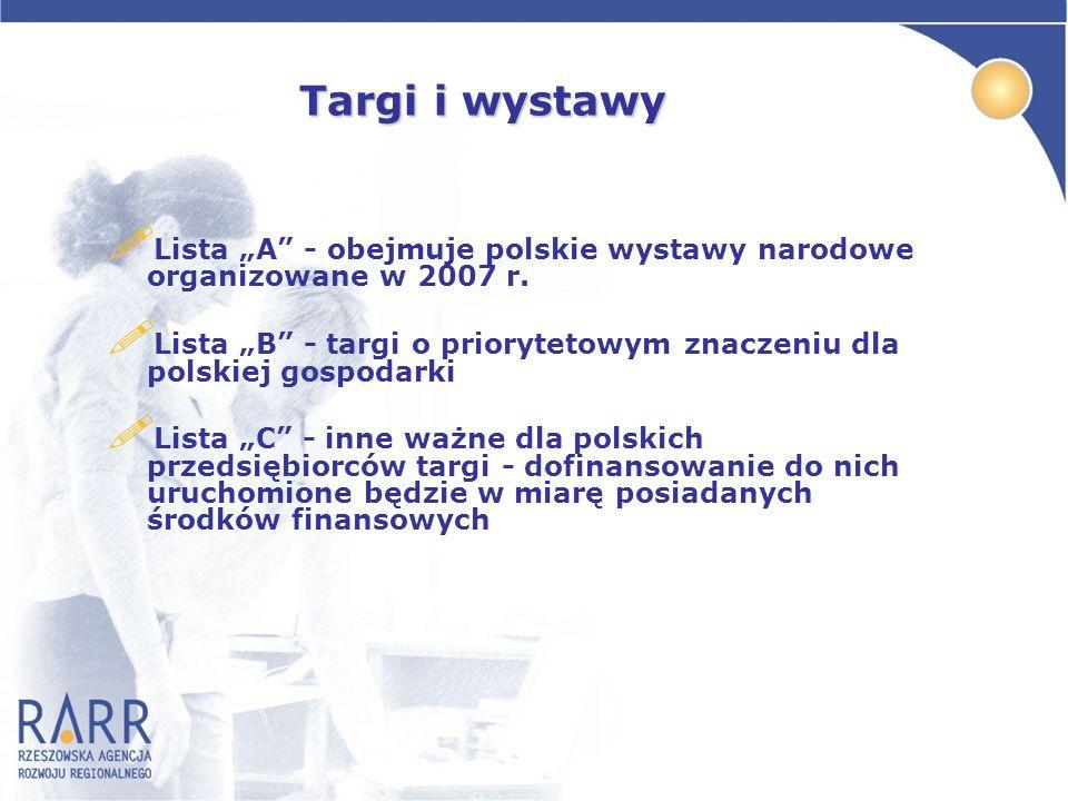 Targi i wystawy Targi i wystawy ! Lista A - obejmuje polskie wystawy narodowe organizowane w 2007 r. ! Lista B - targi o priorytetowym znaczeniu dla p