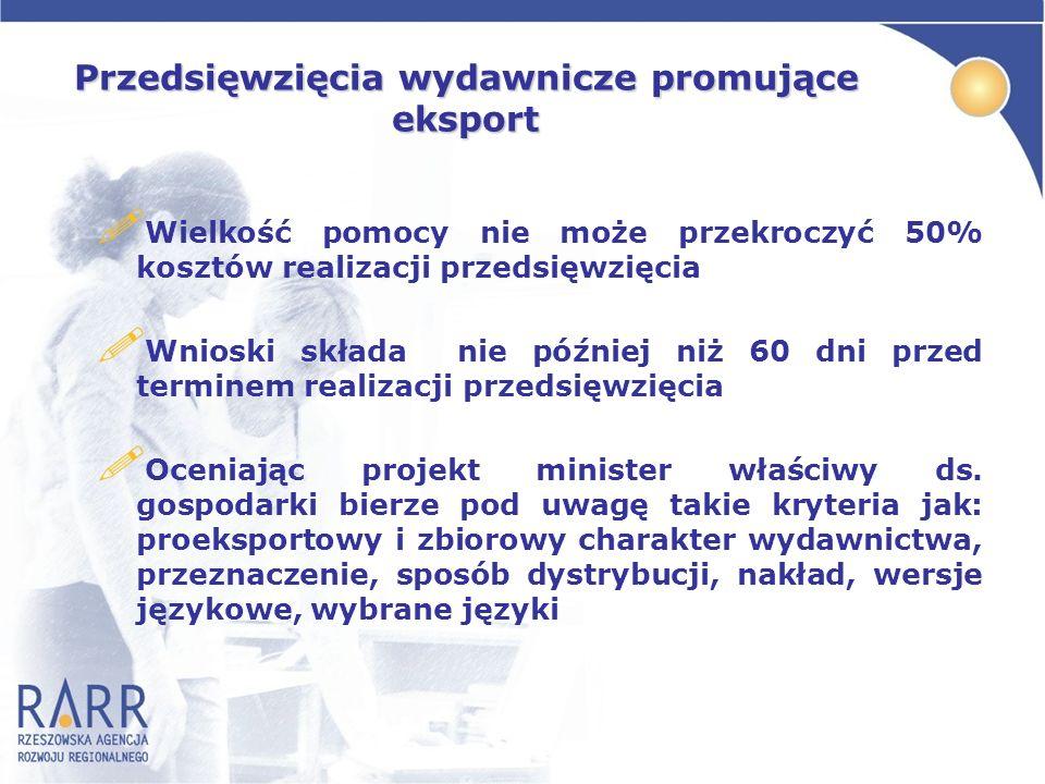 Przedsięwzięcia wydawnicze promujące eksport ! Wielkość pomocy nie może przekroczyć 50% kosztów realizacji przedsięwzięcia ! Wnioski składa nie późnie
