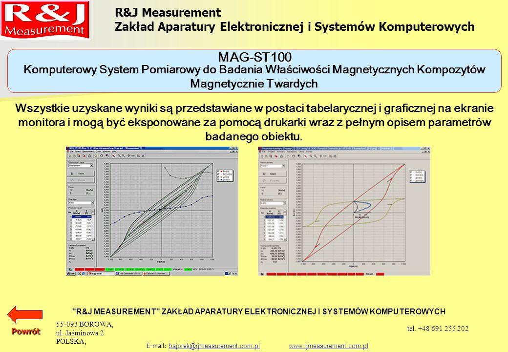 URZĄDZENIA DO BADANIA MATERIAŁÓW MAGNETYCZNIE TWARDYCH KOMPUTEROWY SYSTEM POMIAROWY DO BADANIA WŁAŚCIWOŚCI MAGNETYCZNYCH KOMPOZYTÓW MAGNETYCZNIE TWARDYCH MAG-ST100 STRUMIENIOMIERZ WB-10 R&J Measurement Zakład Aparatury Elektronicznej i Systemów Komputerowych R&J MEASUREMENT ZAKŁAD APARATURY ELEKTRONICZNEJ I SYSTEMÓW KOMPUTEROWYCH E-mail: bajorek@rjmeasurement.com.pl www.rjmeasurement.com.plbajorek@rjmeasurement.com.plwww.rjmeasurement.com.plPowrót 55-093 BOROWA, ul.