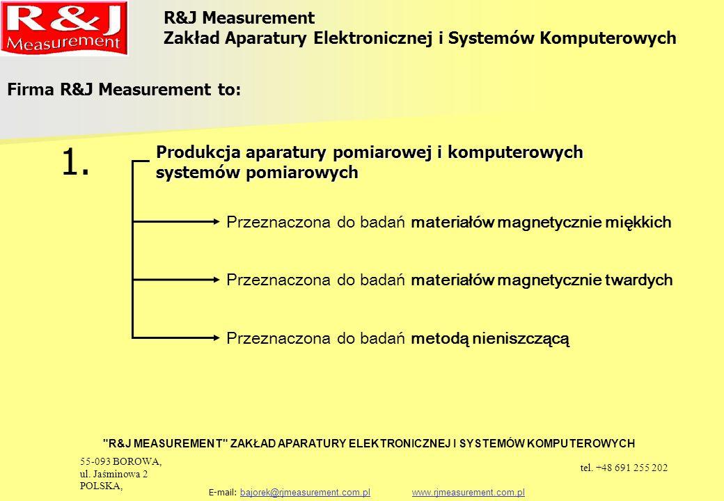Produkcja aparatury kontrolnej Firma R&J Measurement to: 2.2.