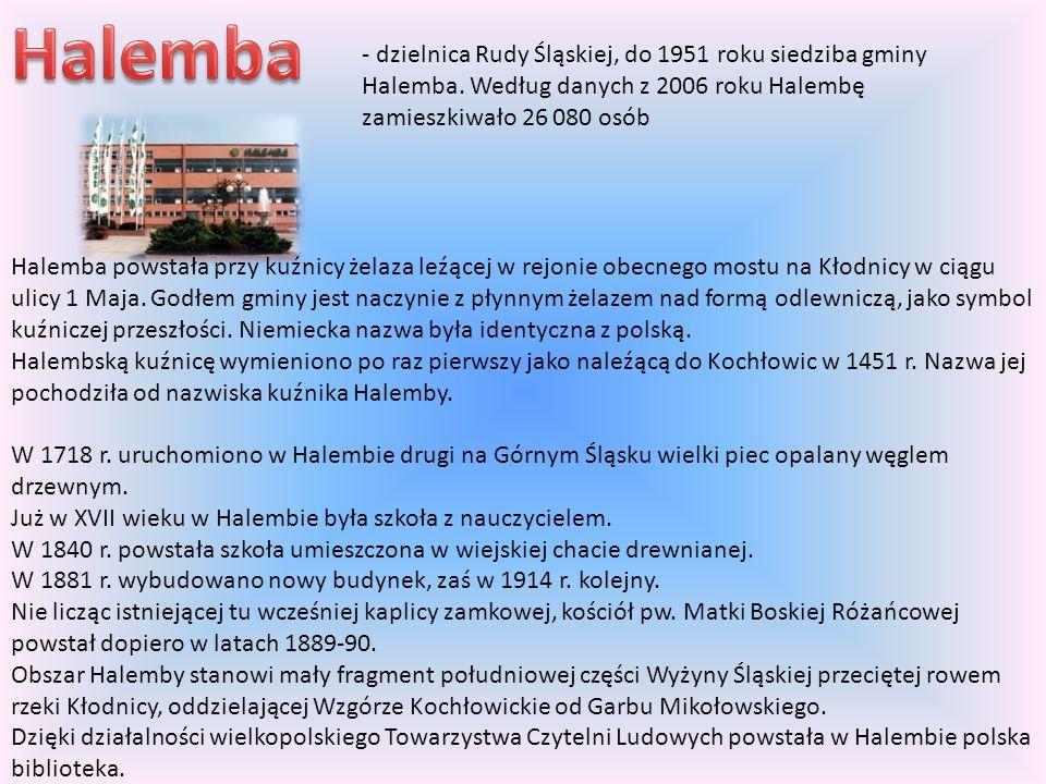 Halemba powstała przy kuźnicy żelaza leźącej w rejonie obecnego mostu na Kłodnicy w ciągu ulicy 1 Maja. Godłem gminy jest naczynie z płynnym żelazem n