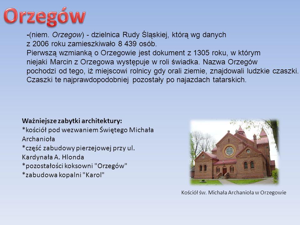 -(niem. Orzegow) - dzielnica Rudy Śląskiej, którą wg danych z 2006 roku zamieszkiwało 8 439 osób. Pierwszą wzmianką o Orzegowie jest dokument z 1305 r