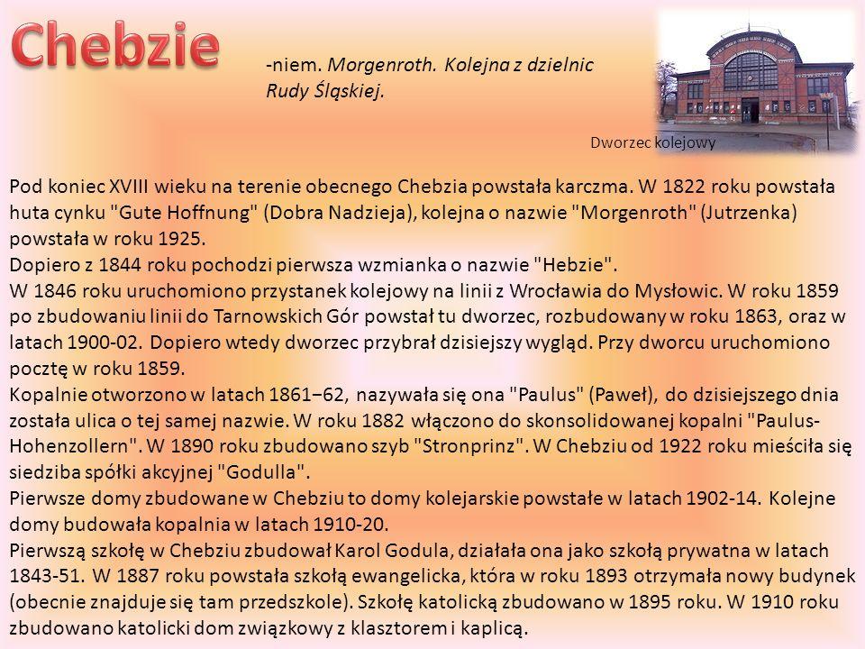 Pod koniec XVIII wieku na terenie obecnego Chebzia powstała karczma. W 1822 roku powstała huta cynku