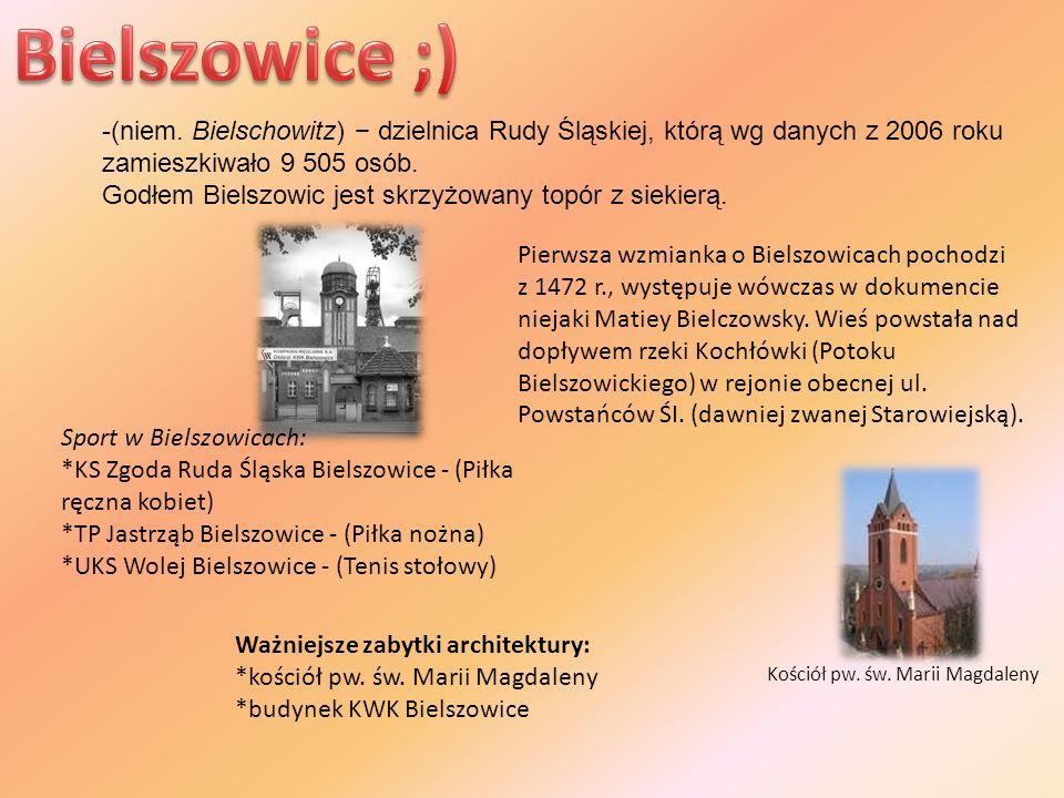 -(niem. Bielschowitz) dzielnica Rudy Śląskiej, którą wg danych z 2006 roku zamieszkiwało 9 505 osób. Godłem Bielszowic jest skrzyżowany topór z siekie