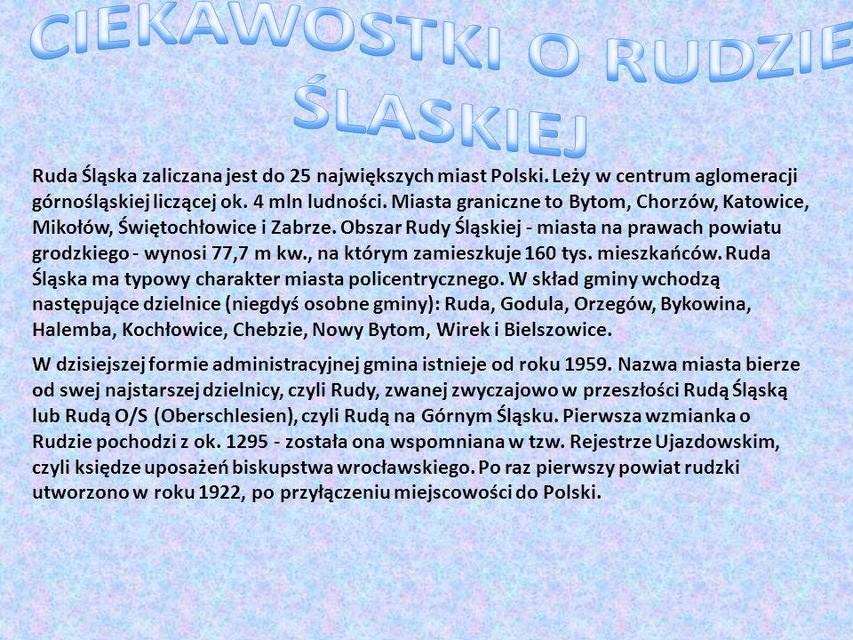 Ruda Śląska zaliczana jest do 25 największych miast Polski. Leży w centrum aglomeracji górnośląskiej liczącej ok. 4 mln ludności. Miasta graniczne to