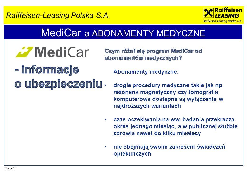 Raiffeisen-Leasing Polska S.A. Page 10 MediCar a ABONAMENTY MEDYCZNE