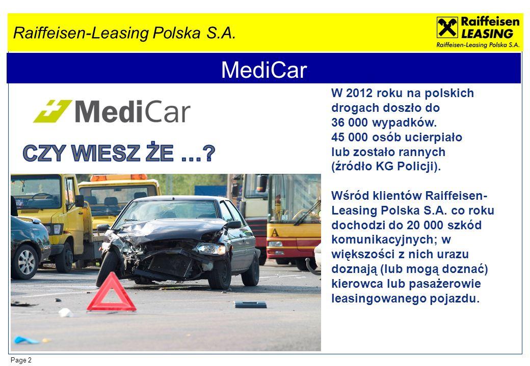 Raiffeisen-Leasing Polska S.A. Page 2 MediCar W 2012 roku na polskich drogach doszło do 36 000 wypadków. 45 000 osób ucierpiało lub zostało rannych (ź