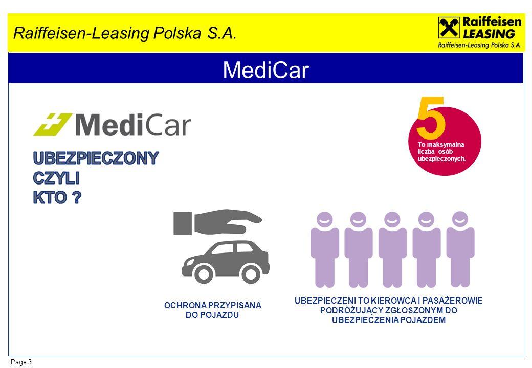 Raiffeisen-Leasing Polska S.A. Page 3 MediCar 5 To maksymalna liczba osób ubezpieczonych. OCHRONA PRZYPISANA DO POJAZDU UBEZPIECZENI TO KIEROWCA I PAS