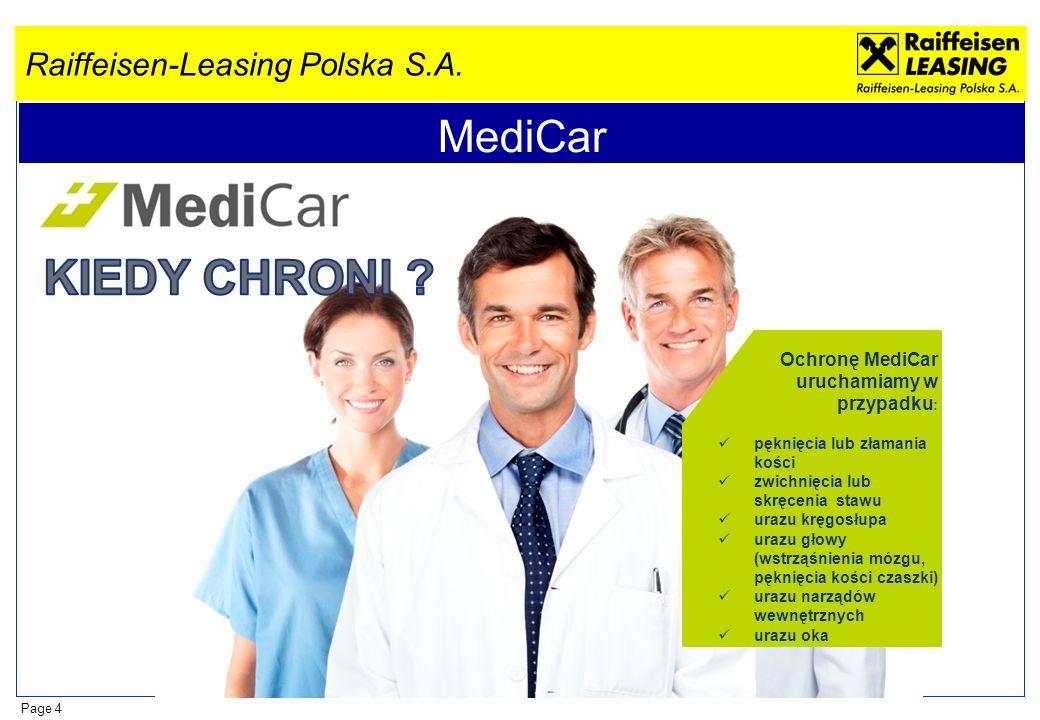 Raiffeisen-Leasing Polska S.A. Page 4 MediCar Ochronę MediCar uruchamiamy w przypadku : pęknięcia lub złamania kości zwichnięcia lub skręcenia stawu u