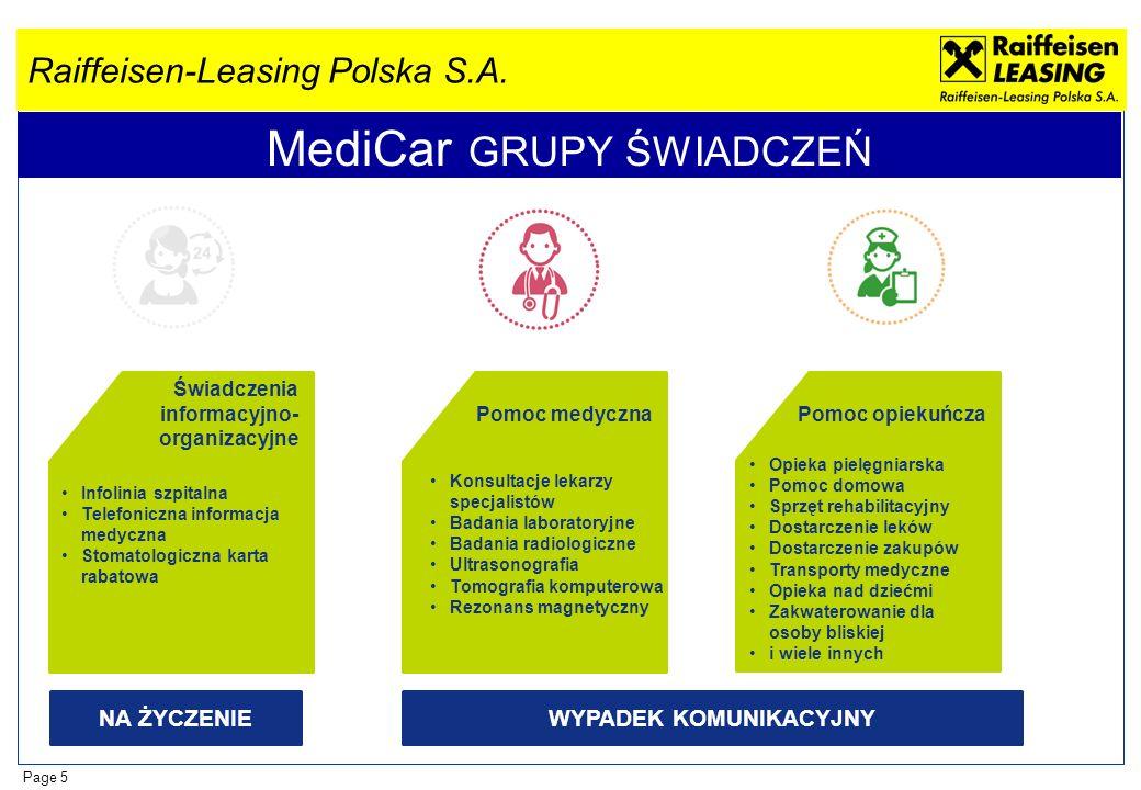 Raiffeisen-Leasing Polska S.A. Page 5 MediCar GRUPY ŚWIADCZEŃ Świadczenia informacyjno- organizacyjne Infolinia szpitalna Telefoniczna informacja medy